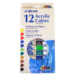 Premium Acrlyfarben Set el Greco 12x12ml Tube Acryl...