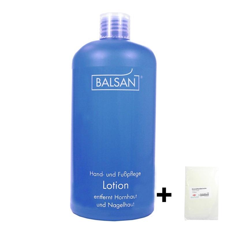 Balsan Fußpflege Hornhautentferner Lotion 500 ml und Nagelhautentferner  + 10 Handschuhe