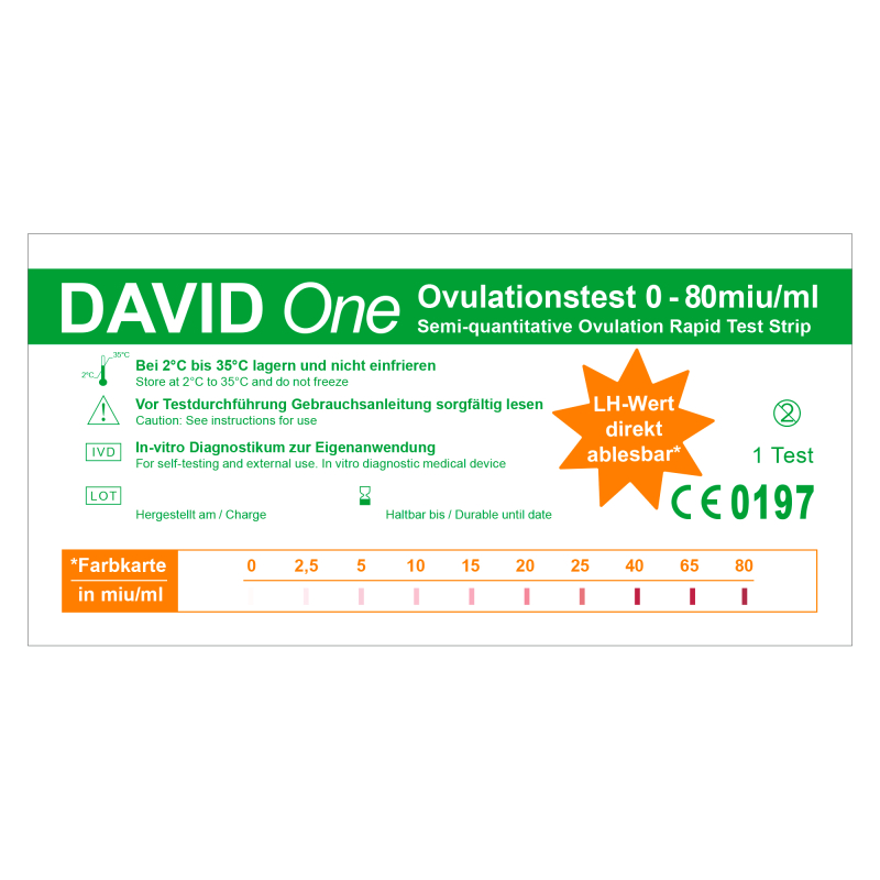 David One 15 x Ovulationstest 0-80 miu/ml mit LH-Wert Anzeige